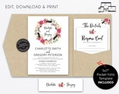 Pocket Wedding Invitation Suite, Floral, Boho, Kraft, Wedding Invitation template, Printable, Editable, pocketfold, pocket folio, Charlotte