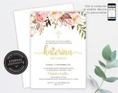 Floral Christening/Baptism Invitation, Baptism, Christening, Editable Template, Printable, Invitation, Baby Girl, Floral, watercolor, Elsie