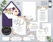 Editable Wedding Invitation Suite, Wedding Invitation template, Printable, Invitation Set, Editable Invitation, Floral Watercolor, Juliet