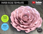 Large Paper Rose Template, PDF, SVG, DXF, Paper Flowers, Rose Template, Flower backdrop, Paper Flower Printable, Paper Rose Svg, Template 2