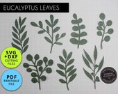 7x Eucalyptus Leaf SVG DXF PDF Template, Leaf svg, Paper flower leaves, Leaf template, Floral svg, Plant svg, Paper Leaf svg, svg for cricut