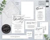 Editable Wedding Invitation Suite, Wedding Invitation template, Printable, Editable Invitation, modern, calligraphy, marble, Cassandra