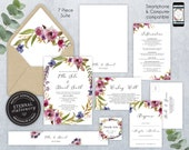 Editable Wedding Invitation Suite, Wedding Invitation template, Printable, Set, Editable Invitation, Floral Watercolor wreath, Ella