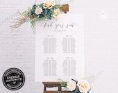 Minimalist Long Table Seating Chart Template, editable banquet table seating chart, seating plan, seating arrangement, Lauren