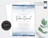 Baptism Invitation boy, Christening Invitation boy, Baptism, Christening, Navy Watercolour, Editable Template, Printable, Baby Boy, Jackson