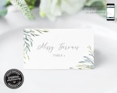 Editable Place Card Template, Leafy, Eucalyptus, Watercolor, Wedding Place Cards, Tent Card, Name Card, Table Card, Reception, Missy