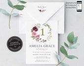 Editable 1st birthday invitation, Pink floral birthday invitation, 1st, girl birthday invitation, watercolor