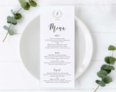 Monogram Menu Template, Editable Menu, leafy, wreath, elegant menu, laurel, Wedding Menu, Birthday, Christening, Baptism, Ashley