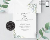 Greenery, leafy Save the Date Card, Wedding Invitation template, Printable, Editable, Floral Watercolor, botanical, Eucalyptus, Missy