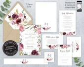 Editable Wedding Invitation Suite, Wedding Invitation template, Printable, Editable Invitation, Roses, Floral Watercolor, Alina