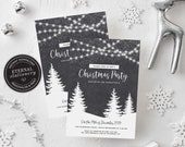Editable Winter Wonderland Christmas party Invitation Template, Christmas Invitation Printable, Instant Download, Holiday Invitation, 007