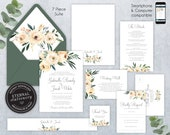 Editable Wedding Invitation Suite, Wedding Invitation template, Printable, Editable, ivory roses, Floral Watercolor, leafy, Gabriella