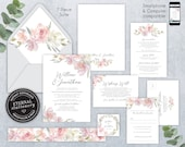 Blush Pink and Grey Editable Wedding Invitation Suite, Wedding Invitation template, Printable, Invitation, Roses, Floral Watercolor, Willow