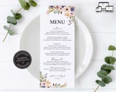 Floral Menu Template, Watercolour floral menu, Boho, posy, Editable Menu, Wedding Menu, Birthday, Christening, Baptism, Dinner menu, Juliet