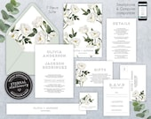 Greenery Wedding Invitation Suite, Wedding Invitation template, Printable, Invitation Set, Watercolor, white roses, modern, floral, Olivia