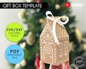 Gingerbread House Gift Box, gingerbread SVG, gingerbread DXF, gingerbread printable PDF, Cricut Silhouette Scan N Cut, Christmas gift box