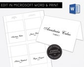 Editable Microsoft Word Place Card Template, Wedding place card, Tent Card, Engagement, Corporate , Escort Card, calligraphy table card