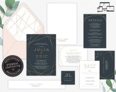 Geometric Gold Foil Wedding Invitation Suite, Wedding Invitation template, Invitation Set, Editable, Navy Invitations, Modern, Julia