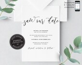 Modern Calligraphy Save the Date Invitation, Wedding Invitation template, Save the Date Printable, Invitation, Editable Invitation, Beverly