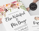 Floral Wedding Invitation, Wedding Invitation template, Invitation Printable, Invitation, Editable Invitation, watercolor, boho, Elsie