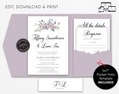 Pocket Wedding Invitation Suite, Floral, Watercolur, Wedding Invitation template, Printable, Editable, pocketfold, pocket folio, Tiffany