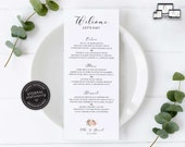 Elegant Floral Menu Template, Boho, Watercolour, Editable Menu, Wedding Menu, Birthday, Christening, Baptism, Dinner menu, Ella