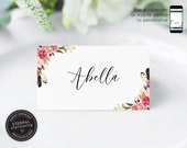 Editable Place Card Template, Floral Watercolor, Wedding Place Cards, Tent Card, Name Card, Table Card, Place Card, Calligraphy, Abella