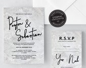 Marble Wedding Invitation Template, Modern Wedding Invitation template, Wedding Invitation Printable, Editable Invitation, Peyton