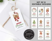 Editable Cute Christmas Gift Tags, Set of 8 Designs, Instant Download, Nativity Christmas Gift Tags, Holiday Tags, Printable Christmas Tags