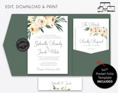 Pocket Wedding Invitation Suite, Floral, greenery, leaves, ivory roses, Wedding Invitation template, pocketfold, pocket folio, Gabriella