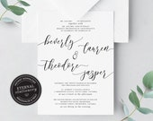 Elegant Wedding Invitation template, Simple Wedding Invitation, Minimalist Wedding Invitation, Calligraphy Wedding Invitation, beverly