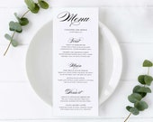 Elegant Calligraphy Menu Template, Editable Menu, modern menu, lettering, Wedding Menu, Birthday, Christening, Baptism, Cassandra