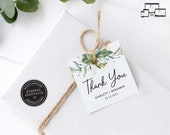 Botanical Gift Tag template, Leafy, Greenery, Eucalyptus, bonbonniere tags, wedding favour tag template, printable tags, thank you, Scarlett