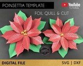 Poinsettia Flower SVG and Foil Quill design, Single sketch line file for Cricut Silhouette Scan N Cut, single line, christmas flower