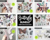 MEGA Butterfly SVG bundle, commercial use, Butterfly Cutting File templates, Butterfly SVG, dxf, butterfly wall decor, butterfly clipart