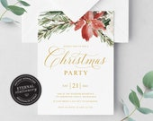Editable Floral Watercolor Christmas Party Invitation Template, Christmas Invitation Printable, Editable Invitation, Instant Download, 012