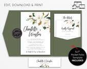 Elegant Magnolia Pocket Wedding Invitation Suite, Floral, greenery, leaves, Wedding Invitation template, pocketfold, pocket folio, Chantelle