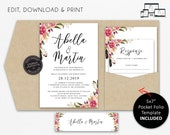 Pocket Wedding Invitation Suite, Floral, Watercolor, Wedding Invitation template, Printable, Editable, pocketfold, pocket folio, Abella