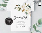 Magnolia Save the Date Card, Save the Date, Wedding Invitation template, Printable, Invitation, Floral Watercolor, botanical, Chantelle