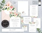 Editable Wedding Invitation Suite, Wedding Invitation template, Printable, Editable Invitation, Roses, Floral Watercolor, Stephanie
