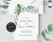 Greenery, Eucalyptus Save the Date Card, Wedding Invitation template, Printable, Invitation, Floral Watercolor, botanical, leafy, Scarlett