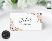 Editable Place Card Template, Floral Watercolor, Wedding Place Cards, Tent Card, Name Card, Table Card, Place Card, Calligraphy, Juliet