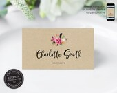 Editable Place Card Template, Floral Watercolor, Wedding Place Cards, Tent Card, Name Card, Table Card, Place Card, Kraft, Rustic, Charlotte