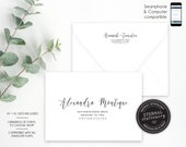 Editable A7 and A1 Envelope Addressing Template, Wedding Addressed Envelope, DIY Envelope Template for Wedding, Return Address, Hannah