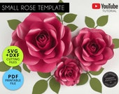 Small Paper Rose Template, 3 Sizes, PDF, SVG, DXF, Paper Flowers, Rose Template, Rose Svg, Flower backdrop, Paper Flower Printable, 006