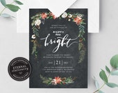Editable Dark Floral Christmas Party Invitation Template, Merry and Bright Christmas Invitation Printable, Editable, Instant Download, 014