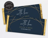 Chocolate Bar Wrapper Template, Modern Geometric Wedding favours, candy wrapper template, gold foil chocolate wrapper, Aldi, Hershey, Julia