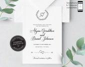 Rustic Save the Date, Wedding Invitation template, Printable, Invitation, Editable Invitation, DIY, rustic, boho, laurel, heart, Alyssa