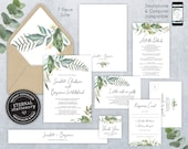 Editable Wedding Invitation Suite, Wedding Invitation template, Printable, Set, Editable, Watercolor, Greenery, Eucalyptus, Leaf, Scarlett