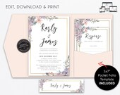 Pocket Wedding Invitation Suite, Floral, watercolour, Wedding Invitation template, Printable, Editable, pocketfold, pocket folio, Karly
